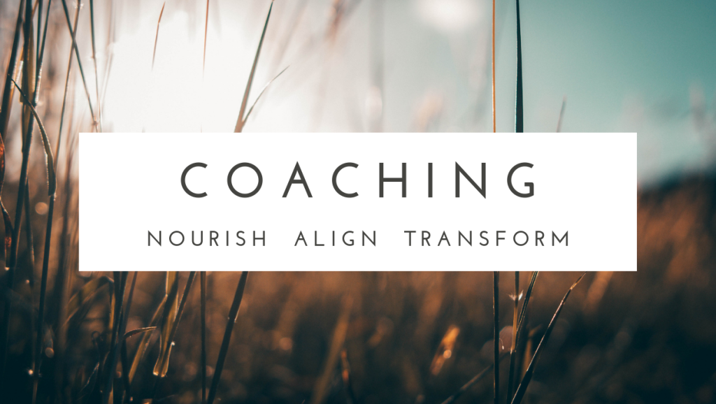 "Image shows dry grasses in an autumnal light. Text reads ""coaching: nourish, align, transform"". The photo is a link to a description of my coaching practice."
