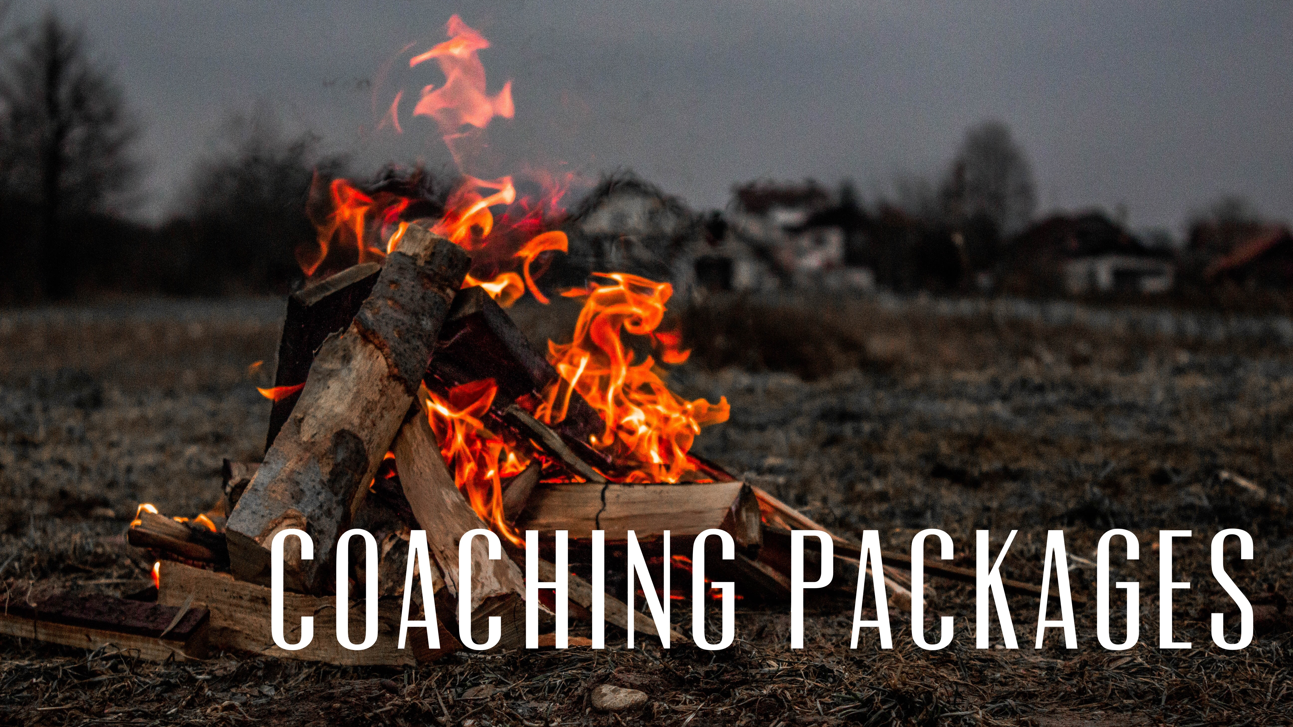 "Image shows a campfire. Text reads ""coaching practices"" This photo is a link to my page on the coaching practices I offer."