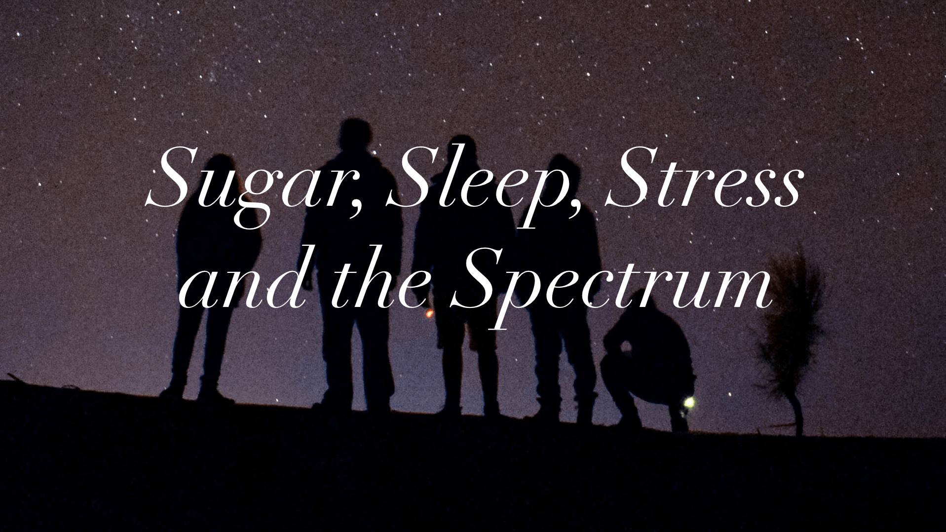 "Image shows a starry sky with five silhouetted people looking at the sky. Overlaid text reads, ""Sugar, Sleep, Stress and the Spectrum"""